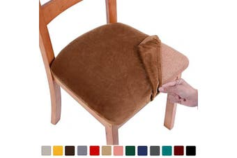 (2PCS, Camel) - smiry Original Velvet Dining Chair Seat Covers, Stretch Fitted Dining Room Upholstered Chair Seat Cushion Cover, Removable Washable Furniture Protector Slipcovers with Ties - Set of 2, Camel
