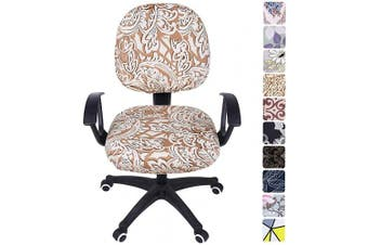 (Khaki Floral) - smiry Stretch Print Computer Office Chair Cover, Removable Washable Universal Desk Rotating Chair Slipcover, Khaki Floral
