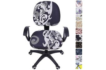(Black Floral) - smiry Stretch Print Computer Office Chair Cover, Removable Washable Universal Desk Rotating Chair Slipcover, Black Floral