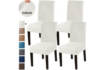 (4, Ivory) - Turquoize Dining Chair Covers Stretch Chair Covers for Dining Room Velvet Chair Protector Covers Slipcover Parson Chair Covers Set of 4 for Hotel Ceremony, Thick Soft Modern Style, Ivory, 4