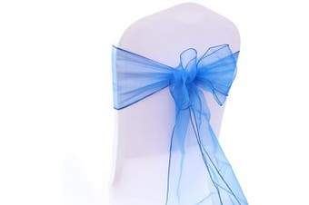 (Royal Blue) - BIT.FLY 25 Pcs Organza Chair Sashes for Wedding Banquet Party Decoration Chair Bows Ties Chair Cover Bands Event Supplies - Royal Blue