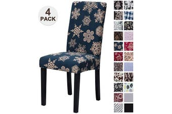 (4, Sdxh) - Mecerock Fit Stretch Jacquard Removable Washable Short Dining Chair Covers Seat Slipcover for Hotel,Dining Room,Ceremony,Banquet Wedding Party (4, SDXH)
