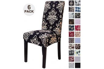 (6, Stkhei) - Mecerock Fit Stretch Jacquard Removable Washable Short Dining Chair Covers Seat Slipcover for Hotel,Dining Room,Ceremony,Banquet Wedding Party (6, STKHEI)