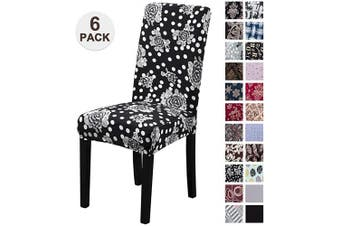 (6, Hbh) - Mecerock Fit Stretch Jacquard Removable Washable Short Dining Chair Covers Seat Slipcover for Hotel,Dining Room,Ceremony,Banquet Wedding Party (6, HBH)