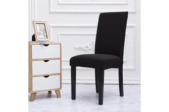 (6, Black) - Mecerock Fit Stretch Jacquard Removable Washable Short Dining Chair Covers Seat Slipcover for Hotel,Dining Room,Ceremony,Banquet Wedding Party (6, Black)