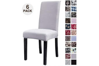 (6, Silver Gray) - Mecerock Fit Stretch Jacquard Removable Washable Short Dining Chair Covers Seat Slipcover for Hotel,Dining Room,Ceremony,Banquet Wedding Party (6, Silver Grey)