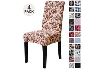 (4, Omj) - Mecerock Fit Stretch Jacquard Removable Washable Short Dining Chair Covers Seat Slipcover for Hotel,Dining Room,Ceremony,Banquet Wedding Party (4, OMJ)
