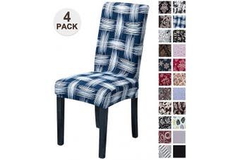 (4, Ssty) - Mecerock Fit Stretch Jacquard Removable Washable Short Dining Chair Covers Seat Slipcover for Hotel,Dining Room,Ceremony,Banquet Wedding Party (4, SSTY)