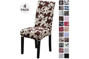 (4, Hzl) - Mecerock Fit Stretch Jacquard Removable Washable Short Dining Chair Covers Seat Slipcover for Hotel,Dining Room,Ceremony,Banquet Wedding Party (4, HZL)