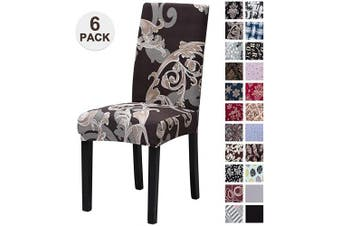 (6, Hjff) - Mecerock Fit Stretch Jacquard Removable Washable Short Dining Chair Covers Seat Slipcover for Hotel,Dining Room,Ceremony,Banquet Wedding Party (6, HJFF)