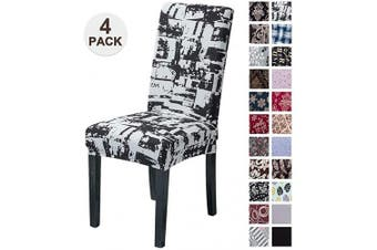 (4, Hsyx) - Mecerock Fit Stretch Jacquard Removable Washable Short Dining Chair Covers Seat Slipcover for Hotel,Dining Room,Ceremony,Banquet Wedding Party (4, HSYX)