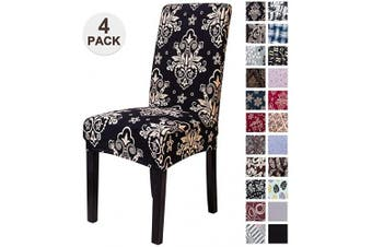 (4, Stkhei) - Mecerock Fit Stretch Jacquard Removable Washable Short Dining Chair Covers Seat Slipcover for Hotel,Dining Room,Ceremony,Banquet Wedding Party (4, STKHEI)
