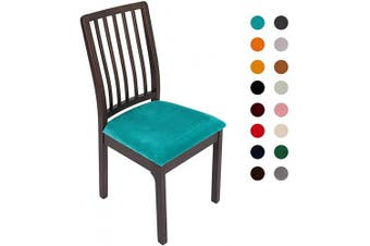 (2PC Seat Cover, Teal) - Soft Velvet Stretch Fitted Dining Chair Seat Covers, Removable Washable Anti-Dust Dining Room Upholstered Chair Seat Cushion Cover Kitchen Chair Protector Slipcovers with Ties - Set of 2, Teal