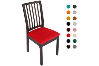 (4PC Seat Cover, Red) - Soft Velvet Stretch Fitted Dining Chair Seat Covers, Removable Washable Anti-Dust Dining Room Upholstered Chair Seat Cushion Cover Kitchen Chair Protector Slipcovers with Ties - Set of 4, Red