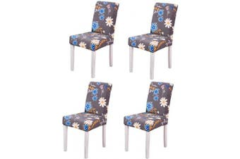 (4, Style 02) - YEESSION Stretch Spandex Dining Chair Slipcovers Removable Washable Dining Room Chair Protector Cover Seat Slipcover Set of 4 (Style 02)