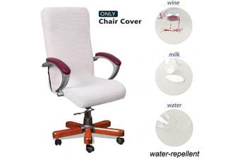 (Medium, Off White) - WOMACO Waterproof Office Chair Cover, Jacquard Computer Office Chair Covers Water-Repellent Universal Boss Chair Covers Modern Simplism Style High Back Chair Slipcover (White, Medium)