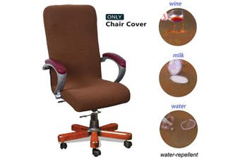 (Large, Brown) - WOMACO Waterproof Office Chair Cover, Jacquard Computer Office Chair Covers Water-Repellent Universal Boss Chair Covers Modern Simplism Style High Back Chair Slipcover (Brown, Large)
