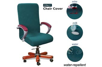 (Large, Teal) - WOMACO Waterproof Office Chair Cover, Computer Office Chair Covers Water-Repellent Universal Boss Chair Covers Modern Simplism Style High Back Chair Slipcover (Teal, Large)