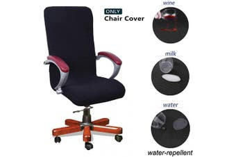 (Medium, Black) - WOMACO Waterproof Office Chair Cover, Jacquard Computer Office Chair Covers Water-Repellent Universal Boss Chair Covers Modern Simplism Style High Back Chair Slipcover (Black, Medium)