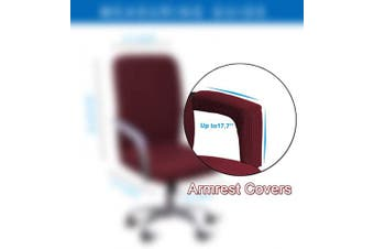 (Armrest Cover-45cm , Wine) - WOMACO Waterproof Office Chair Cover, Computer Office Chair Covers Water-Repellent Universal Boss Chair Covers Modern Simplism Style High Back Chair Slipcover (Wine, Armrest Covers)