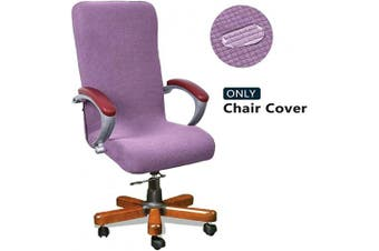 (Large, Light Purple) - WOMACO Waterproof Office Chair Cover, Jacquard Computer Office Chair Covers Water-Repellent Universal Boss Chair Covers Modern Simplism Style High Back Chair Slipcover (Light Purple, Large)