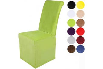 (2, Lemon Green) - Colorxy Velvet Stretch Chair Covers for Dining Room, Soft Removable Long Solid Dining Chair Slipcovers Set of 2, Lemon Green