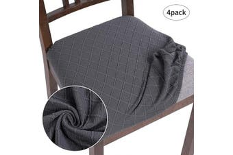 (4, Grey B) - SearchI Stretch Water Repellent Jacquard Spandex Dining Room Chair Seat Covers, Removable Washable Anti-Dust Upholstered Chair Seat Covers for Dining Room, Kitchen, Office (Grey b, 4)