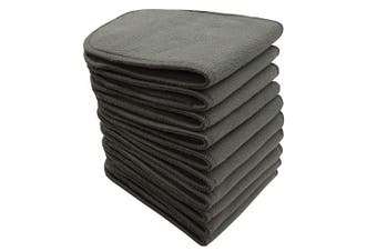 """(Black) - Bluesnail Absorbent and Soft Cloth Nappy Liner, Washable Charcoal Bamboo Reusable Inserts (S,13''X5"""", Black)"""
