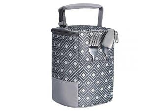 (one size, Gray lattice) - Baby Bottle Bag Insulated Breastmilk Cooler Tote Bag for Travel (fit Four 240ml Bottles)