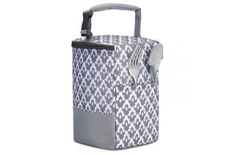 (one size, Lace pattern) - Baby Bottle Bag Insulated Breastmilk Cooler Tote Bag for Travel (fit Four 240ml Bottles)