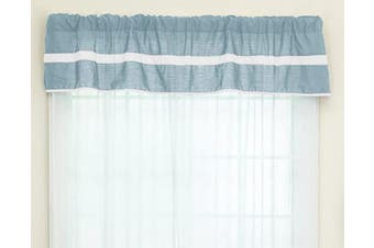 (Light Blue/White) - Baby Doll Bedding Solid Stripe Window Valance, Light Blue/White