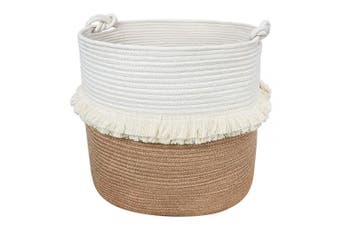 (Jute) - Large Woven Storage Baskets – 41cm x 41cm Cotton and Jute Rope Decorative Hamper for Nursery, Toys, Blankets, and Laundry, Cute Tassel Nursery Decor - Home Storage Container