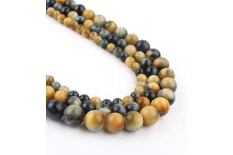 (8mm, dream yellow) - Song Xi 8mm Dream Yellow Tiger Eye Beads Stone Beads for Jewellery Making 15inch Beads