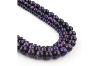 (6mm, purple) - Song Xi 6mm Purple Tiger Eye Beads Stone Beads for Jewellery Making 15inch Beads