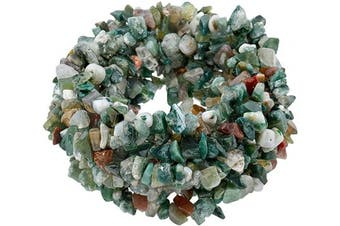 (90cm , Multicolor) - SUNYIK Moss Agate Tumbled Chip Stone Irregular Shaped Drilled Loose Beads Strand for Jewellery Making 90cm