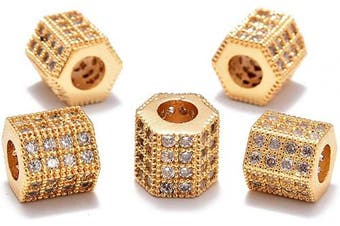 (5 Pcs Clear on Gold Hexagon (7x8mm)) - AD Beads Zircon Pave Rhinestones Rondelle Or Hexagon Bracelet Connector Spacer Beads (5 Pcs Clear on Gold Hexagon (7x8mm))