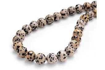 "(8mm, Dalmatian Stone) - BEADIA Natural Dalmatian Stone Round Loose Semi Gemstone Beads for Jewellery Making 8MM (15""/Strand) 45PCS"