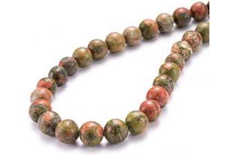 """(10mm, Unakite) - BEADIA Natural Unakite Stone Round Loose Semi Gemstone Beads for Jewellery Making 10MM (15""""/Strand) 37PCS"""
