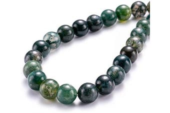 """(8mm, Moss Agate) - BEADIA Natural Moss Agate Stone Round Loose Semi Gemstone Beads for Jewellery Making 8MM (15""""/Strand) 45PCS"""