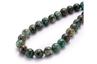 """(6mm, African Turquoise) - BEADIA Natural African Turquoise Stone Round Loose Semi Gemstone Beads for Jewellery Making 6MM (15""""/Strand) 62PCS"""