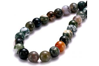 "(10mm, India Agate) - BEADIA Natural India Agate Stone Round Loose Semi Gemstone Beads for Jewellery Making 10MM (15""/Strand) 37PCS"