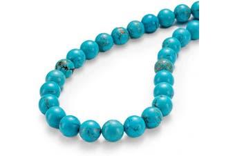 "(10mm, Blue Turquoise) - BEADIA Natural Blue Turquoise Stone Round Loose Semi Gemstone Beads for Jewellery Making 10MM (15""/Strand) 37PCS"