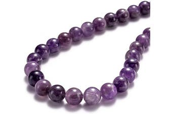 "(10mm, Amethyst) - BEADIA Natural Amethyst Crystal Stone Round Loose Semi Gemstone Beads for Jewellery Making 10MM (15""/Strand) 37PCS"