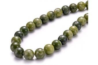 "(8mm, Taiwan Green Jade) - BEADIA Taiwan Green Jade Natural Stone Round Loose Semi Gemstone Beads for Jewellery Making 8MM (15""/Strand) 45PCS"