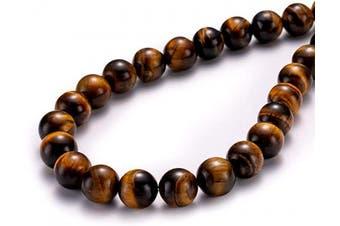 "(8mm, Yellow Tiger Eye) - BEADIA Natural Yellow Tiger Eye Stone Round Loose Semi Gemstone Beads for Jewellery Making 8MM (15""/Strand) 45PCS"