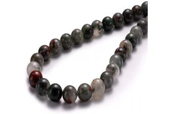 "(10mm, Bloodstone) - BEADIA Natural Blood Stone Round Loose Semi Gemstone Beads for Jewellery Making 10MM (15""/Strand) 37PCS"