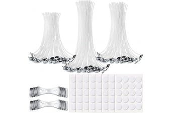 150 Pieces Cotton Candle Wicks with Base 160 Pieces Double Sided Candle Wick Stickers 2 Pieces Candle Wick Centering Device for DIY Candle Making Supplies