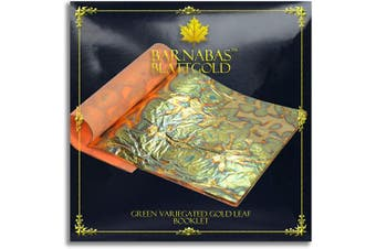(Loose, 14cm , 25 sheets, Variegated - Green) - Variegated Gold Leaf Sheets - by Barnabas Blattgold - Colour - Green - 25 Sheets - 14cm Booklet