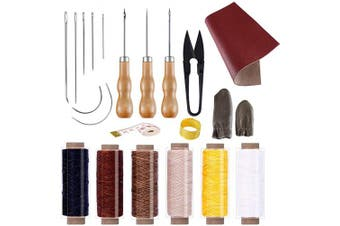 (22pcs a) - BUTUZE Convenient Leather Craft Sewing Kit 22 Pieces Leather Sewing Repair Kit with Simple Method for Beginner-Leather Sewing Tools for Sewing/Leather Craft DIY/Leather Working