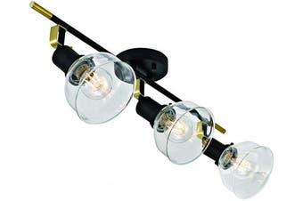 (3-Light) - Addington Park 60013 Maisie Track Light, 3, Matte Black Finish and Antique Brass Details